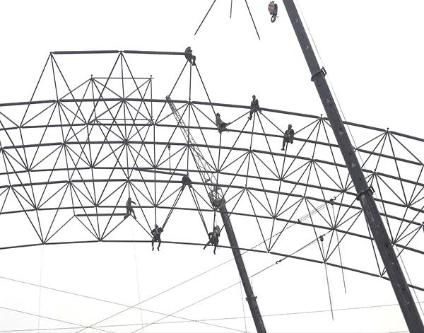干煤棚网架厂家空中安装